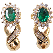 Vintage 14k Gold .86 ctw Natural Emerald and Diamond Earrings