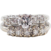 Vintage 14k White Gold .87 ctw Diamond Engagement Ring and Wedding Band Set ~ Circa 1940's