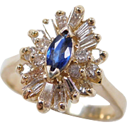 Vintage 14k Gold .89 ctw Sapphire and Diamond Ring