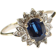 Vintage 14k Gold Two-Tone .89 ctw Natural Sapphire and Diamond Ring