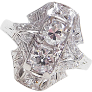 Art Deco Platinum .96 ctw Diamond Ring