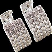 Vintage 14k White Gold .96 ctw Diamond Huggie Hoop Earrings