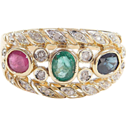 Vintage 14k Gold .96 ctw Ruby, Emerald, Sapphire and Diamond Ring ~ Two-Tone