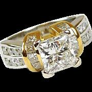 Custom 18k Gold and Platinum 3.01 ctw Princess Cut Diamond Engagement Ring