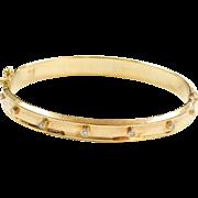 "18k Gold .38 ctw Diamond Hinged Bangle Bracelet 7"""