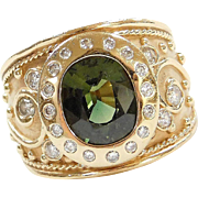 Etruscan 14k Gold Wide 3.17 ctw Green Sapphire and Diamond Ring
