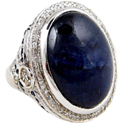 BIG Natural 41.52 Carat Sapphire in Custom 14k White Gold Diamond and Sapphire Halo Ring ~ 43.90 ctw