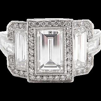Fancy Custom 5.24 ctw Diamond Engagement Ring Platinum ~ Round, Emerald and Baguette Cut Diamonds ~ Handmade by Gonshor Designs