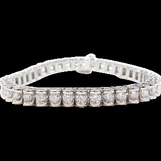 "7 ctw Diamond Tennis Bracelet 14k White Gold ~ 7 1/4"""