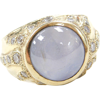 Natural Star Sapphire and Diamond 18k Gold Gents Ring