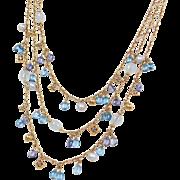 "Retired David Yurman 18k Gold Triple Strand Gemstone Necklace 17"" - 18"""