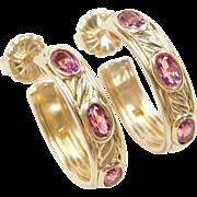 Retired David Yurman 18k Gold Pink Tourmaline Hoop Earrings