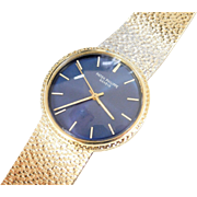 1970's Patek Philippe Navy Blue Dial Automatic Backwind Wristwatch 18k Gold