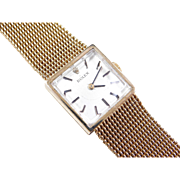 1940's Ladies Rolex Watch Square Face with Woven Bracelet 14k Gold