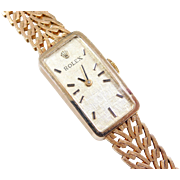 "1950's Ladies Rolex Watch with Rectangle Face 14k Gold ~ 6 1/2"" - 6 5/8"""