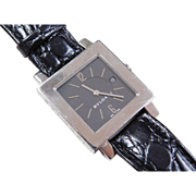 Bvlgari Stainless Steel Watch with Black Leather Strap ~ Box