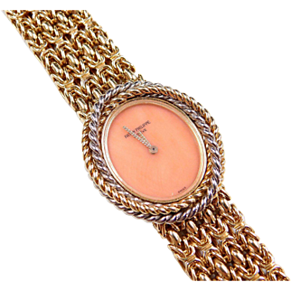 1960's Ladies Patek Philippe Coral Face Watch with Two-Tone 18k Gold Twisted Rope Design and Byzantine Bracelet