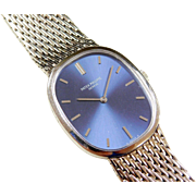 1970's Patek Philippe Blue Ellipse 18k White Gold Watch