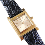 1960's Rolex Square Face Watch with Black Leather Strap 18k Gold