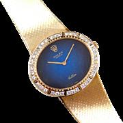 1970's Rolex Cellini Watch with Diamond Bezel 18k Yellow Gold