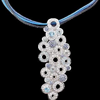 BIG Custom 8.69 ctw Diamond, Blue Topaz and Sapphire 18k Gold Necklace