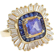 Custom Handmade 3.27 ctw Natural Tanzanite, Sapphire and Diamond Ring 18k Gold