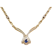 3.93 ctw Natural Sapphire and Diamond Necklace 14k Gold ~ Two-Tone