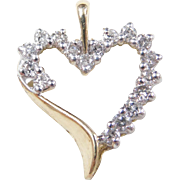 Vintage 10k Gold Two-Tone .43 ctw Diamond Heart Pendant