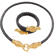 18k Yellow Gold Alligator Braided Cord Necklace and Bracelet Set
