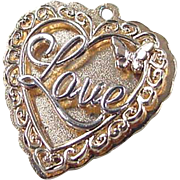 Vintage 14k Gold Two-Tone Heart LOVE Charm