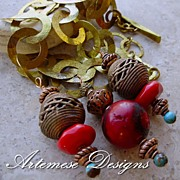 Year of the Ox: Red Bamboo Coral, Green Turquoise, Copper & Brass Textured Chain Chunky Necklace w/ Three Drops
