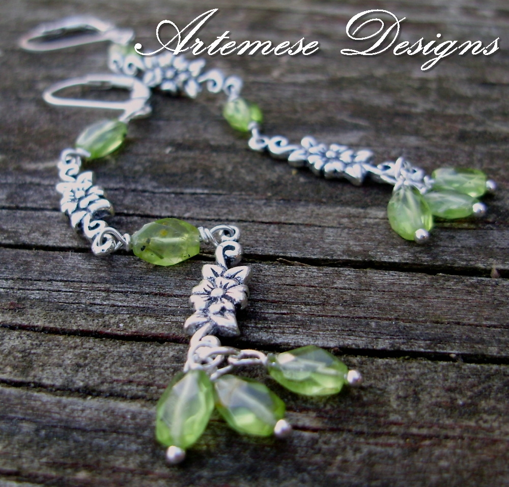 Green Garland: Peridot & Silver Long Dangle Earrings