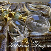 Bel Air: Crystal Quartz, Prehnite, Vermeil & Gold-Filled Earrings