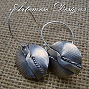 Textured Folded Shield Earrings in Sterling Silver