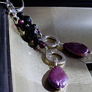 Powerhouse: Black Onyx, Garnet, Purple Cultured Pearl & Sterling Silver Earrings