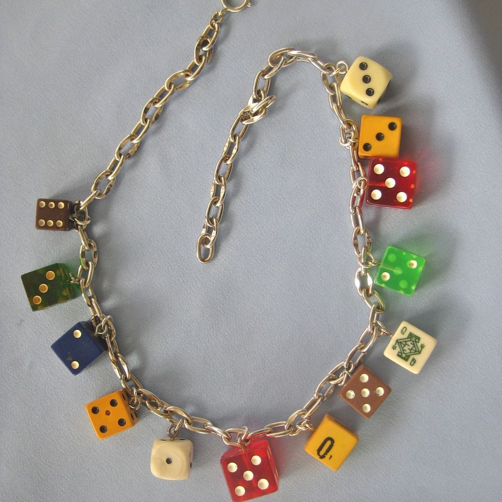 chunky dangling vintage dice necklace silver chain   red