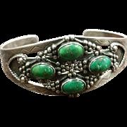Silver & Green Turquoise Bracelet Trading Post Era