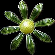 Aksel Holmsen Green Flower Brooch