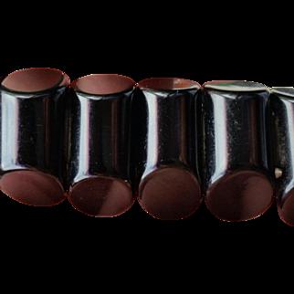 Black Bakelite Stretch Bracelet