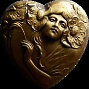 Art Nouveau Heart brooch of Woman w/ Poppies in her Hair
