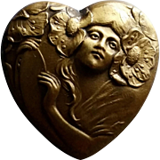 Art Nouveau Heart brooch of Woman w/ Poppies in her Hair