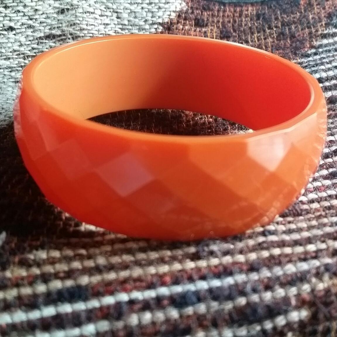 Diamond Faceted Orange Bakelite Bangle