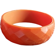 Diamond Faceted Orange Bakelite Bangle