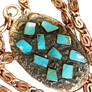 1976 Bell Copper & Turquoise Pendant Mint