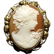 Carved Shell Cameo Ornate G.F. Frame  Pendant/Pin - Red Tag Sale Item