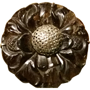 Older Chinese Carved Stone Floral Silver Clip