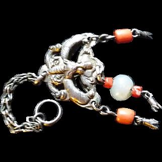 Chinese Silver Coral & Jade Bat Pendant