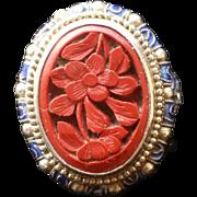 Cinnabar Silver Enamel Chinese Ring