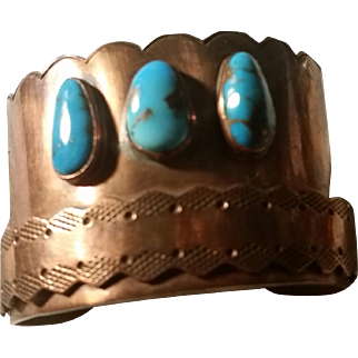 Wide Copper & Turquoise Cuff Bracelet Hand Crafted