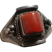 Sterling Silver & Natural Red Coral Tribal Ring